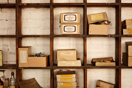 Boxes of fittings at the Coffin Works